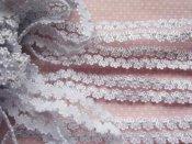 (EB-043) Elastisch kant - wit / glitter zilver - 16mm