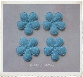 (BLsk-013a) 4 bloemen - stippen - katoen - lichtblauw - 35mm