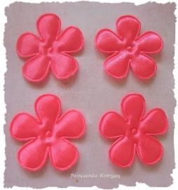 (BLE-035) 4 satijnen bloemen - neon roze - 35mm