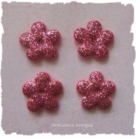 (BLGL-003) 4 glitter bloemetjes - roze - 13mm