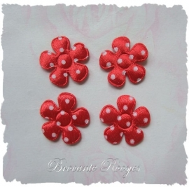 (BLs-003) 4 polka dot bloemetjes - satijn - rood - 2cm
