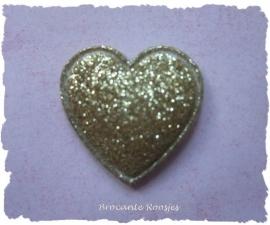 (H-016b) Hartje - glitter - goud - 2cm