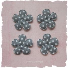 (BLsk-019) 4 bloemen - stippen - grijs - 35mm