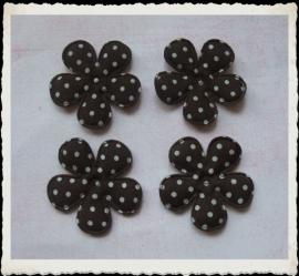(BLsk-017a) 4 bloemen - stippen - katoen - bruin - 35mm