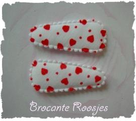 (HOBd-005) 2 Hoesjes - baby - hartjes - wit/rood