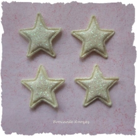 (Ster-010) 4 glitter sterretjes - ivoor - 13mm
