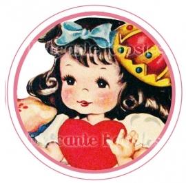 (FB-022) Flatback button - vintage meisje - hartje