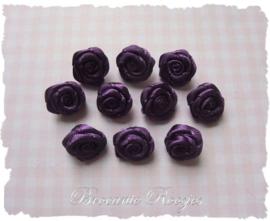 (RM-011) 10 satijnen roosjes - paars - 15mm