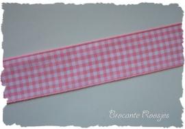 (RU-030) Ruitjesband - licht roze - 25mm