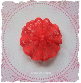 (BLro-014) Bloem-rozet - dubbel laagje kant - rood - 45mm