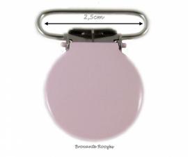 (Spe-006) Speenkoord clip  - metaal -  rond - licht roze - 2,5cm