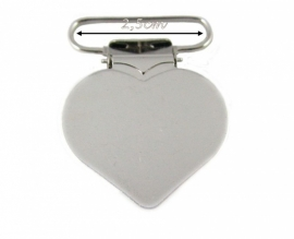 (SPe-012) Speenkoord clip - metaal -  hartje - 2,5cm
