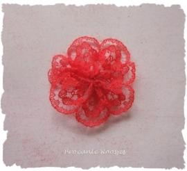 (BLro-004) Bloem-rozet - kant - rood - 3cm