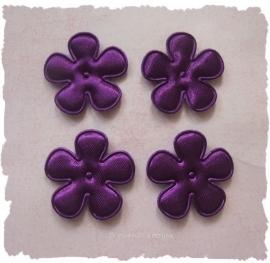 (BLE-021b) 4 satijnen bloemen - paars - 25mm