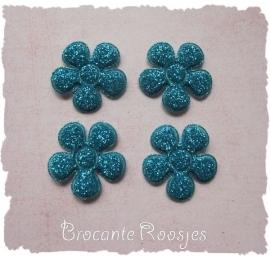 (BLGL-017) 4 glitter bloemetjes - aqua -  2cm