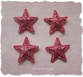 (Ster-012) 4 glitter sterretjes - fuchsia - 13mm