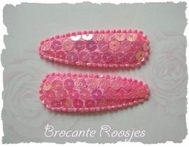 (HOd-016) 2 hoesjes - pailletjes - roze - glans - 55mm