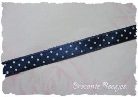 (ST-006) Stippen lint - satijn - donkerblauw - 10mm