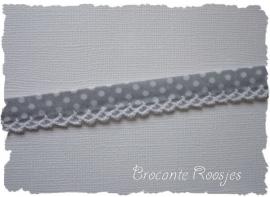 (BI-026) Biaisband met kantje - stipje - grijs