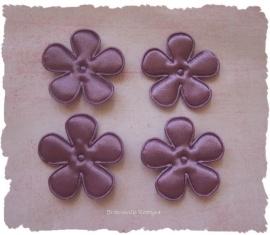 (BLE-043a) 4 bloemen - satijn - violet - 35mm