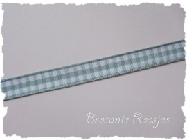 (RU-027) Ruitjesband - grijs - 10mm