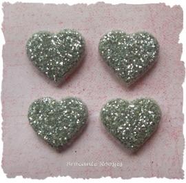 (H-003e) 4 glitter hartjes - zilver - 12mm
