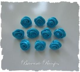 (R-014a) 10 satijnen roosjes - d. aqua - 10mm