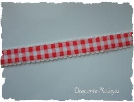 (EB-pr-005) Elastisch ruitjesband met kantje - rood - 12mm
