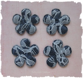 (BL-ka-007a) 4 bloemen met kant - donker blauw - 35mm
