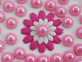(FLp-007) Flatback parel met randje - roze - 12mm