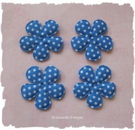 (BLsk-014a) 4 bloemen - stippen - katoen - korenblauw - 35mm