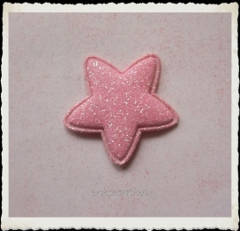 (Ster-031) Ster - glitter - roze - 25mm