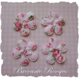 (BLd-009) 4 bloemen met roosjes - roze - 35mm