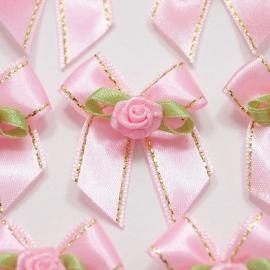 (Sd-004) Strikje met roosje - licht roze / goud - 35mm
