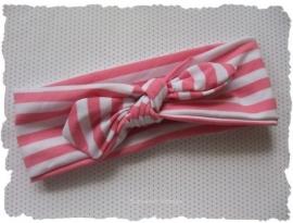 (GHK-001) Geknoopte haarband - elastisch - gestreept - roze/wit