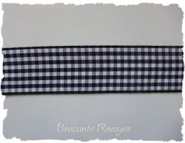 (RU-037) Ruitjesband - zwart - 25mm