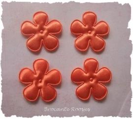 (BLE-049) 4 satijnen bloemen - oranje - 35mm