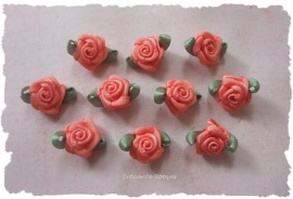 (Rb-011) 10 satijnen roosjes met blaadje - zalm - 17mm