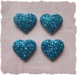 (H-003d) 4 glitter hartjes - aqua - 12mm