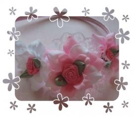 Diadeem met  roosjes met afneembare bloemblaadjes