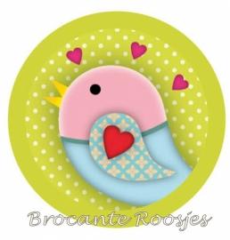 (FB-015) Flatback button - vintage vogeltje - mosterd