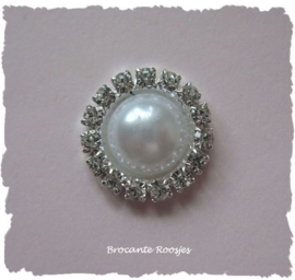 (FLp-013) Flatback parel - strass - wit - 15mm