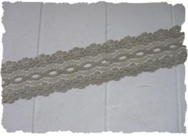 (K-023) Bloemetjeskant - licht grijs - 25mm