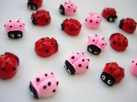 (FL-div-008) Flatback - lieveheersbeestje - roze