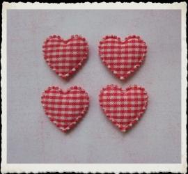 (H-020) 4 hartjes - ruitje - rood - 22mm