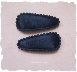 (HOBe-013) 2 hoesjes - baby -  satijn - donkerblauw
