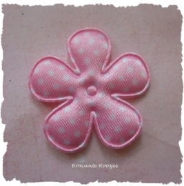 (BLs-019) Bloem - stippen - satijn - licht roze - 35mm