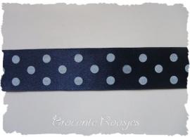 (ST-028) Stippenband - satijn - grote stip - donkerblauw - 25mm
