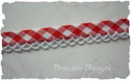 (BI-012) Biaisband met kantje - ruitje - rood