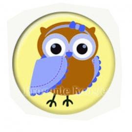(FB-019) Flatback button - uiltje - geel*